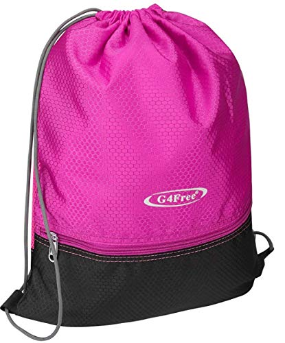 (G4Free Drawstring Backpack Sports Gym Bag Pull String Bag Athletic Cinch Bag Men Women Sackpack Gymsack(Pink-Black))