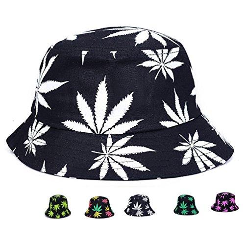 e8ef006a Bucket Hat – Marijuana Weed Fishing Hat – Unisex Sun Uv Protection Wide  Brim Flat Sport Cap Hat for Outdoor Running Travel (Type 1)