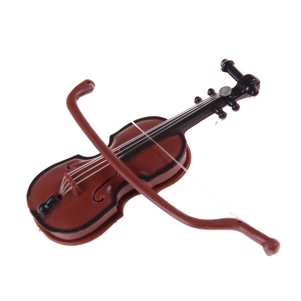 2pcs plastic mini violin dollhouse decorative music instrument crafts diy ST~