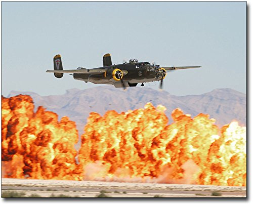 B-25 Mitchell WWII Bomber w/ Wall of Fire 11x14 Silver Halide Photo Print ()
