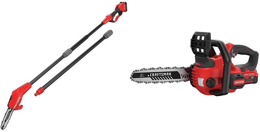 CRAFTSMAN CMCCSP20M1 20V MAX Pole Chainsaw with CMCCS620M1 V20 12 Cordless Compact Chainsaw