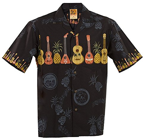 WinnieFashion Hawaiian (100% Cotton) Elegant Ukulele Shirt in Black (XL)