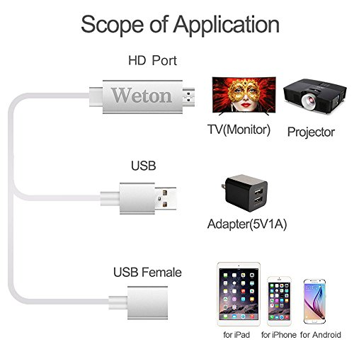 Weton Lightning Digital AV Adapter, Plug and Play Lightning MHL to HDMI Mirroring Cable for iPhone iPad Samsung Huawei Smartphones