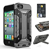 5s case with sliding card holder - iPhone 5S Card Case, iPhone 5 Case - SOWOKO iPhone SE Shockproof Case [Kickstand Series] Slim Rugged Dual Layer Armor Heavy Duty Protection Cover for Apple iPhone 5S/5/SE (Gray)