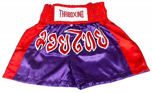 Lofbaz Muay Thai Boxing Shorts – Purple & Red M