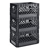 "Muscle Rack PMK24QTB-3 24 Quart 3 Pack Heavy Duty Rectangular Stackable Dairy Milk Crates, 11"" Height, 19"" Width Black"