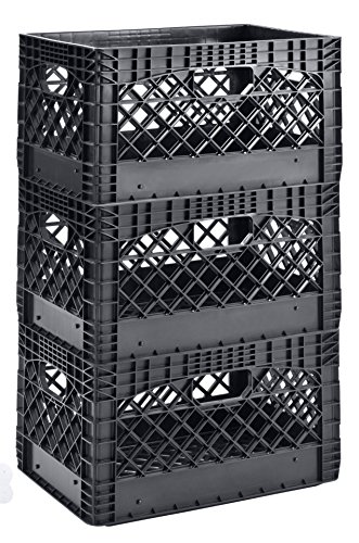Muscle Rack PMK24QTB-3 24 Quart 3 Pack Black Heavy Duty Rectangular Stackable Dairy Milk Crates, 11