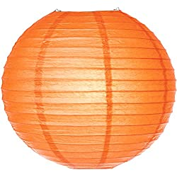 Luna Bazaar Paper Lantern (16-Inch, Parallel Style Ribbed, Orange) - Rice Paper Chinese/Japanese Hanging Decoration - For Home Decor, Parties, and Weddings