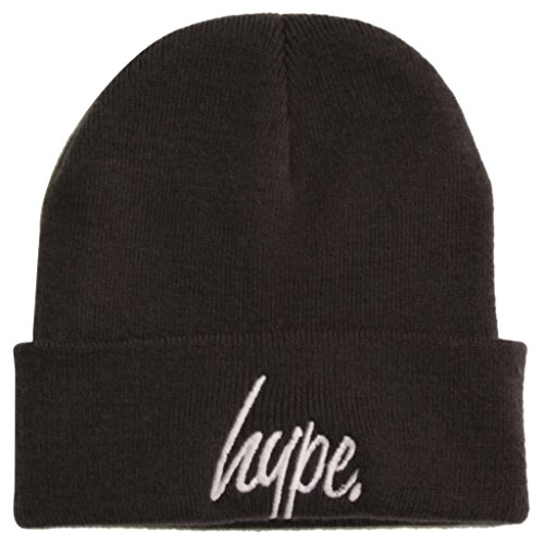 f846129d6f5 Hype Script Logo Beanie Hat Black on Black  Amazon.co.uk  Clothing