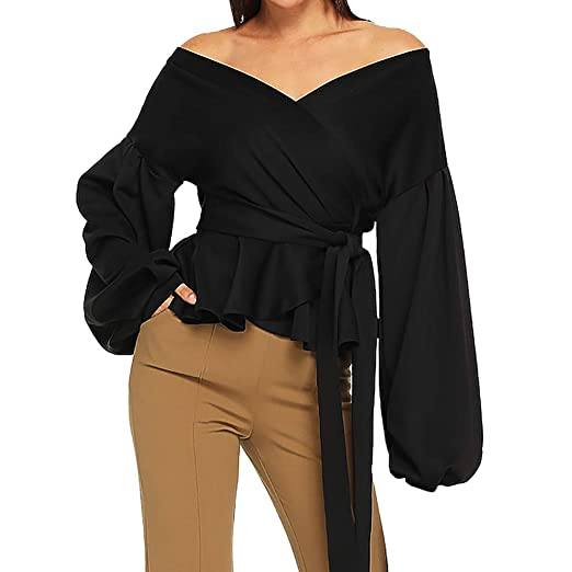 599261d762cd2c HIKO23 Spring Summer Blouses Womens Sexy Elegant Off Shoulder Deep Plunge V  Puff Sleeve Ruffle Wrap