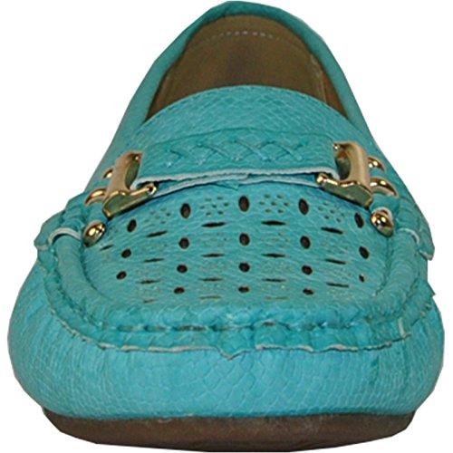 Kozi Women Dress Shoe OY6290_Turquoise Wedge Shoe With Metal Bit Detail at Vamp Turquoise Dl0hoDbj