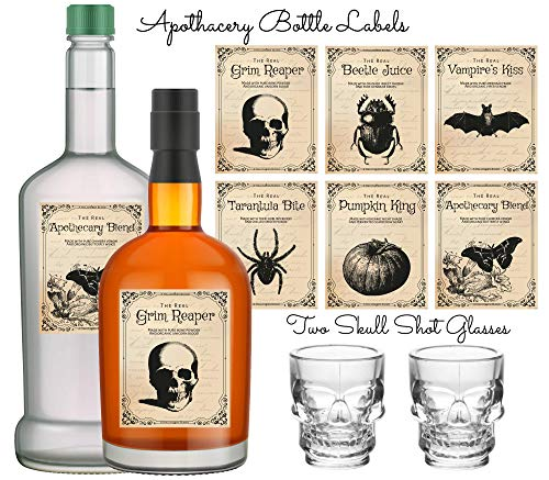 Skull Shot Glasses and Halloween Bottle Stickers, 2 Halloween Shot Glass and 6 Apothecary Bottle Labels for Party Decorations