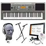 Yamaha PSRE353 Portable Keyboard with Headphones, X-Style Stand, Power Supply, USB, and Instructional Software