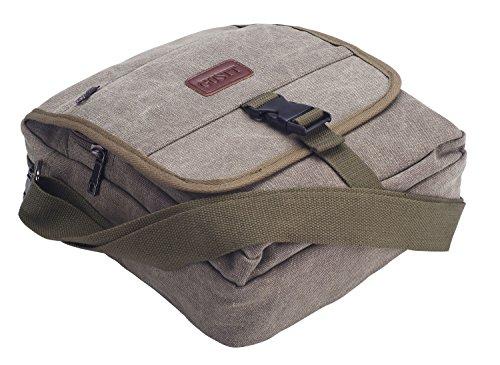 GUSTT® Classic Army Travel School Casual Canvas Messenger Satchel Shoulder Crossbody Handbag (Black-GC2)