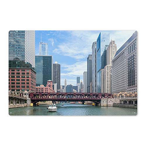 Lantern Press Chicago River Boat Tour Scene Photography A-90296 90296 (6x9 Aluminum Wall Sign, Wall Decor Ready to Hang) (Best Chicago River Cruise Architecture)