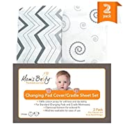 Changing Pad Cover Set, Baby Cradle Sheet 2 Pack - Jersey Cotton Grey and White - Unisex Design for Baby Boy and Baby Girl