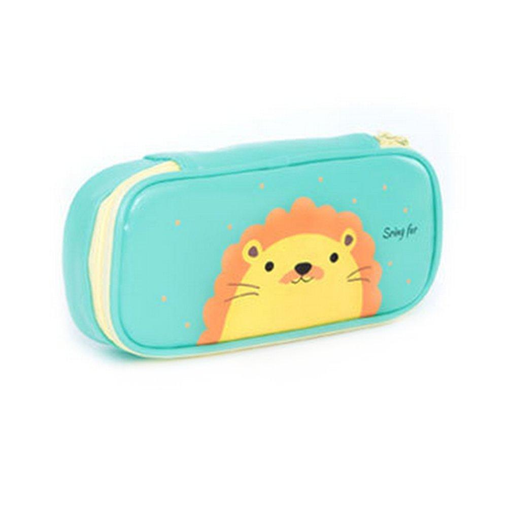 Cosanter Pencil Case bag cute Lion modello in similpelle con cerniera in pelle per occhiali da trucco per adolescenti
