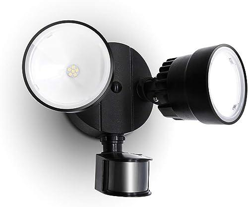 LUTEC Shrimp P6221B-PIR24 1130 Lumen 15 Watt 26 LED Motion Activated Integrated Dual-Head Floodlight Outdoor, IP54 Waterproof Exterior Security Wall Light for Patio, Garden, Yard-Black