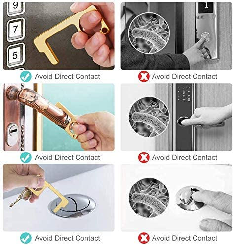 herramientas para el hogar al aire libre 4 piezas llaves libres sin contacto y abridor de puertas EDC para abrir puertas Herramienta antit/áctil para abridor de puertas