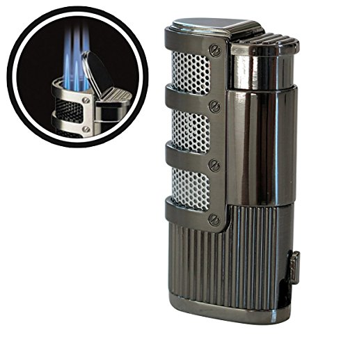 Supernova Triple Jet Flame Torch Windproof Lighter With Punch Cutter Tool - Color: Gun Metal -