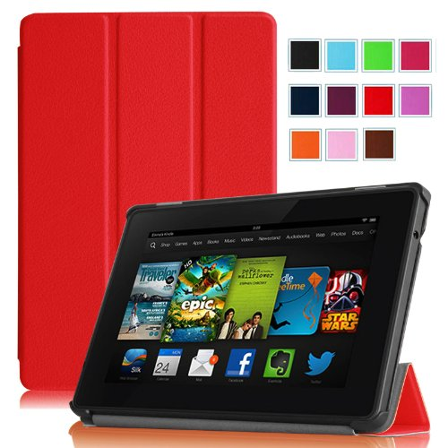 """Fintie Amazon Kindle Fire HD 7"""" (2013 Old Model) SmartShell Case Cover Ultra Slim Lightweight with Auto Sleep / Wake Feature (will only fit Amazon Kindle Fire HD 7, Previous Generation - 3rd) - Red"""