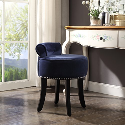 Kathy Ireland Upholstered Chair (Taylor Navy Velvet Vanity Stool - Nailhead Trim | Roll Back | Button Tufted | Bedroom | Inspired Home)