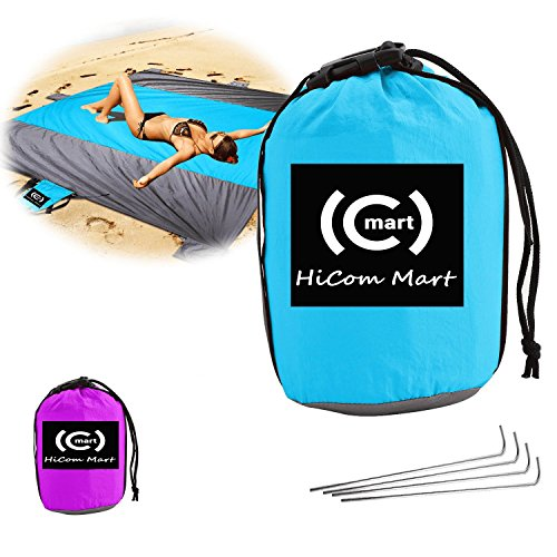 HiCom Mart–Sand, Dirt Poof, Moisturizer Free Beach Blanket, Portable Picnic Blanket,Outdoor Hiking, Camping Pouch – Perfect for groups, couple and family, Parachute Material (Light (Cebra One Light)