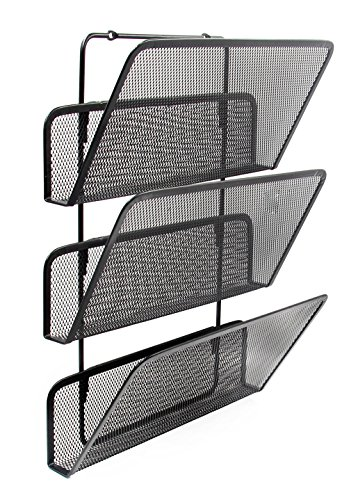 EasyPAG 3 Tier Assembly Mesh Wall File Holder Hanging Organizer,Black