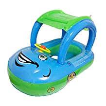 Qianle Kids Seat Boat Infant Swim Float Pool Ring with Sunshade Canopy Blue