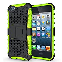 iPod Touch 5 Hybrid Case, iPod Touch 6 Shockproof Cover, Dual Layer Protection Shock Absorption Impact Resistance TPU Soft Case Hard Shell Cover with Kickstand for iPod Touch 5, iPod Touch 6