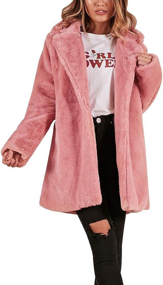 POPNINGKS Womens Jacket Ladies Winter Warm Coats Long Faux Fur Parka Outerwear Loose Round Neck Outercoat