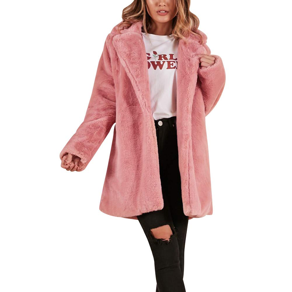 JOFOW Womens Solid Faux Fur Coat,New Warm Pocket Cardigans Fuzzy Basic Parka Winter Padded Discount Lapel Fleece Jackets (L,Pink)