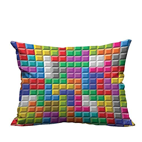 YouXianHome Modern Fashion Cushion Cover Colorful Retro Gaming Computer Brick Blocks Image Puzzle Digital 90s Play Resists Dust Mites(Double-Sided Printing) 11x19.5 inch