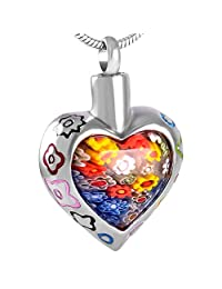 Flowers Patch Heart Stainless Steel Perfect Memorials Cremation Jewelry For Ashes+Fill Kit+Box+Chain