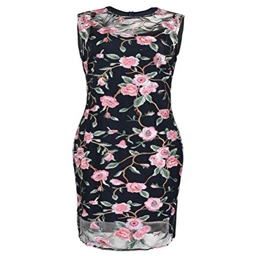 Sunxj Size midi immagine per Plus le come donne maglia ricamo abiti girocollo bfgY76y