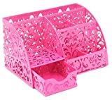 EasyPAG Office Desk Accessories Organizer 5 Compartments with Drawer,Pink