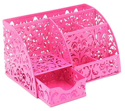 EasyPAG Carved Hollow Flower Pattern Desk Organizer 5 Compartments and 1 Slide Drawer Desktop Collection Office Supply Caddy,Pink