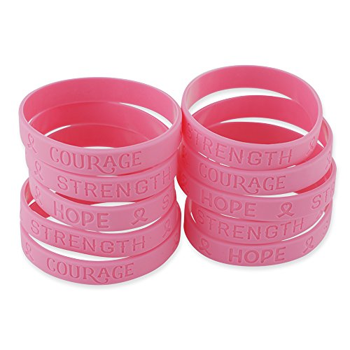 Pink Ribbon Heart Breast Cancer Awareness Wristbands Hope Strength Courage Silicone Bracelets (1 Bracelet)