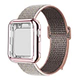 QIENGO Compatible with Apple Watch Band with Case 38MM, Soft Nylon Strap with Silicone Screen Protector, Replacement for iWatch Sport Series 3/2 / 1 (Pinksand, 38mm)