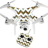 MightySkins Protective Vinyl Skin Decal for DJI Phantom 3 Standard Quadcopter Drone wrap cover sticker skins Glitter Chevron