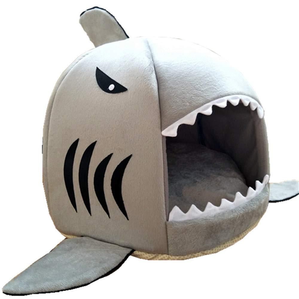 M 3742cm RFVBNM Shark Shape pet nest Kennel cat Litter Removable wash mat pet Supplies,M 37  42cm