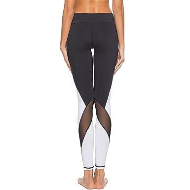Seogva Pantalones de Yoga Pantalones de Cintura Media ...