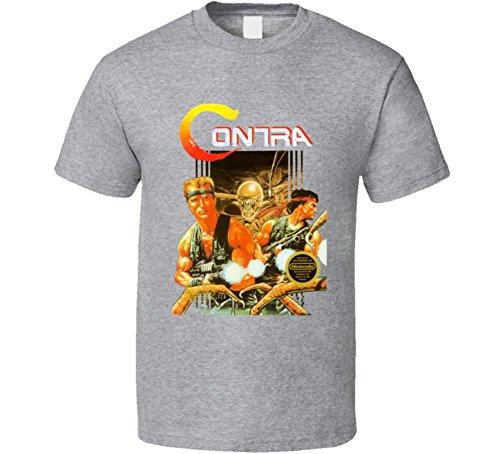 Contra Retro NES Box Art Video Game T Shirt XL Sport Grey (Nes Sports Games)