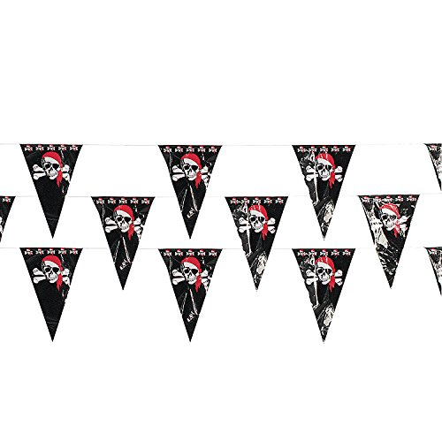 Fun Express Plastic 100 Foot Pirate Pennant Banner with 48 Flags (12