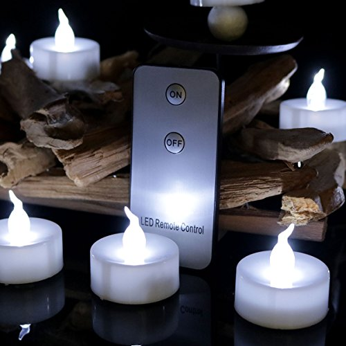 12PCS Mini Wedding Candles Tea Lights with Remote Control, Battery Operated White Flickering Led Candle Lights for Receptions, Wedding Centerpieces, Table Settings by Cozeyat
