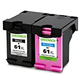 GREENBOX Remanufactured Ink Cartridges Replacement for HP 61XL 61 XL (1 Black, 1 Tri-Color) High Yield for HP Envy 4500 5530 5534 Officejet 4630 Deskjet 1000 1512 2540 3510 3050
