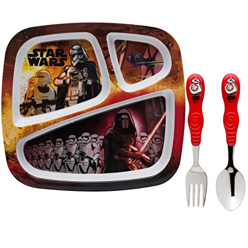Zak! Designs Kids Dinnerware Set Includes 3-section Plate, Fork and Spoon Featuring Graphics from Star Wars The Force Awakens, BPA-free, 3 Piece - D2 R2 Brings Girl