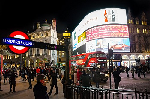 Home Comforts Acrylic Face Mounted Prints Piccadilly Circus London City British England Print 18 x 24. Worry Free Wall Installation - Shadow Mount is Included.