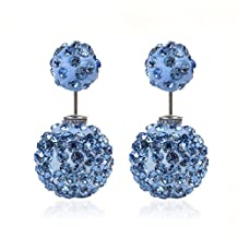 Sexy Sparkles Clay Earrings Double Sided Ear Studs Round Pave Rhinestone W/ Stoppers