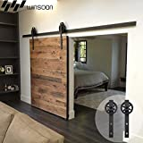 WINSOON Single Wood Sliding Barn Door Hardware Basic Black Big Spoke Wheel Roller Kit Garage Closet Carbon Steel Flat Track System (16FT)